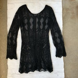 Ecote black lace long sleeve cover up dress